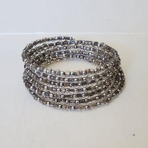 Silver beaded wrap arround adjustable braceblet